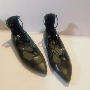 Topshop Point Lace Tie Ballet Flats Black